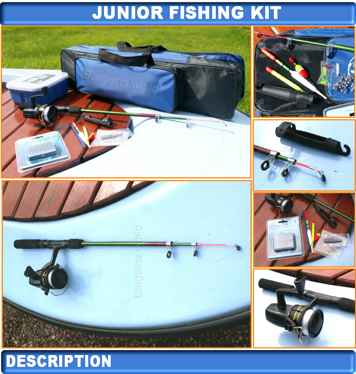 Junior beginners kids novice fishing rod reel kit set ebay for Kids fishing kit