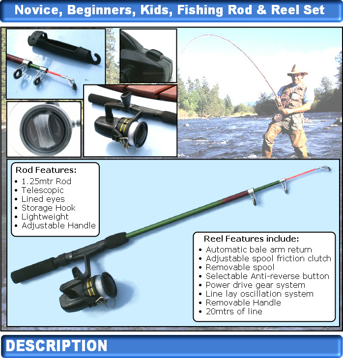 Novice kids beginners childs fishing rod reel set kit ebay for Kids fishing kit